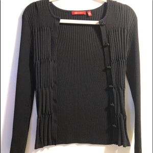 Black button cardigan rubbed sweater